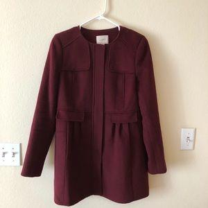 LOFT Lightweight Burgundy Maroon Wool Coat - S